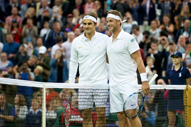 Roger Federer (SUI) and Marcus Willis (GBR) before the Gentlemen's Single 2nd Round match