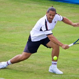 LIVERPOOL, ENGLAND - Thursday, June 15, 2017: Guillermo Canas (ARG) during Day One of the Liverpool Hope University International Tennis Tournament 2017 at the Liverpool Cricket Club. (Pic by David Rawcliffe/Propaganda)