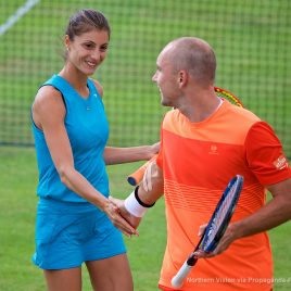 LIVERPOOL, ENGLAND - Thursday, June 15, 2017: Steve Darcis (BEL) & Corinna Dentoni (ITA)  during Day One of the Liverpool Hope University International Tennis Tournament 2017 at the Liverpool Cricket Club. (Pic by David Rawcliffe/Propaganda)