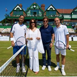 LIVERPOOL, ENGLAND - Saturday, June 17, 2017: Anders Borg joins a representative from Spire Hospital for the coin toss with Guillermo Cañas (ARG) and Steve Darcis (BEL) during Day Three of the Liverpool Hope University International Tennis Tournament 2017 at the Liverpool Cricket Club. (Pic by David Rawcliffe/Propaganda)