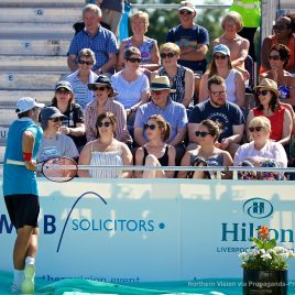 LIVERPOOL, ENGLAND - Saturday, June 17, 2017: Robert Kendrick (USA) chats with spectators during Day Three of the Liverpool Hope University International Tennis Tournament 2017 at the Liverpool Cricket Club. (Pic by David Rawcliffe/Propaganda)