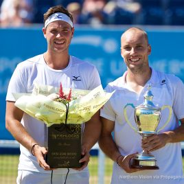 LIVERPOOL, ENGLAND - Sunday, June 18, 2017: Runner-up Marcus Willis (GBR) and Men's Champion Steve Darcis (BEL) with the trophy during Day Four of the Liverpool Hope University International Tennis Tournament 2017 at the Liverpool Cricket Club. (Pic by David Rawcliffe/Propaganda)