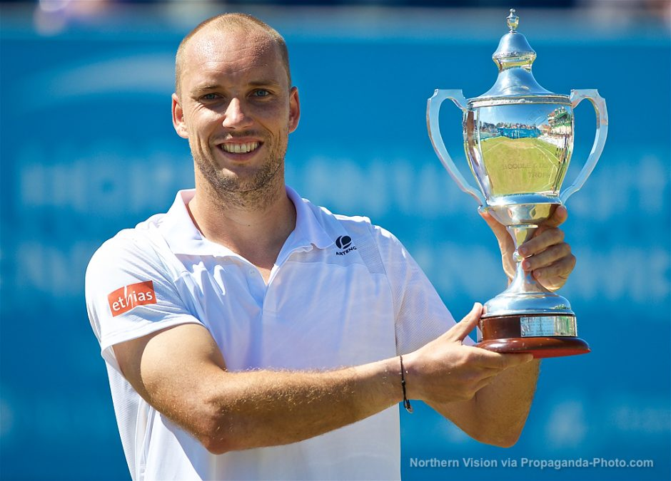 LIVERPOOL, ENGLAND - Sunday, June 18, 2017: Men's Champion Steve Darcis  (BEL) with the trophy during Day Four of the Liverpool Hope University  International ...