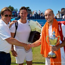 LIVERPOOL, ENGLAND - Sunday, June 18, 2017: Tournament Director Anders Borg with runner-up Marcus Willis (GBR) and Men's Champion Steve Darcis (BEL) with the trophy during Day Four of the Liverpool Hope University International Tennis Tournament 2017 at the Liverpool Cricket Club. (Pic by David Rawcliffe/Propaganda)