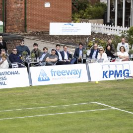 LIVERPOOL, ENGLAND - Thursday, June 21, 2018: Corporate guests watch the match between Vera Zvonareva (RUS) and Ellie Tsimbilakis (GBR) during day one of the Williams BMW Liverpool International Tennis Tournament 2018 at Aigburth Cricket Club. (Pic by Paul Greenwood/Propaganda)