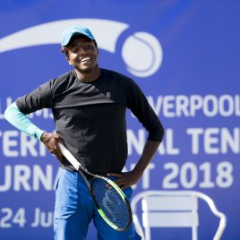 LIVERPOOL, ENGLAND - Thursday, June 21, 2018: Elias Ymer (SWE) during day one of the Williams BMW Liverpool International Tennis Tournament 2018 at Aigburth Cricket Club. (Pic by Paul Greenwood/Propaganda)