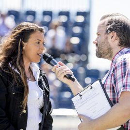 LIVERPOOL, ENGLAND - Friday, June 22, 2018: Marion Bartolli (FRA) speaks with Radio City DJ Simon Greening during day two of the Williams BMW Liverpool International Tennis Tournament 2018 at Aigburth Cricket Club. (Pic by Paul Greenwood/Propaganda)