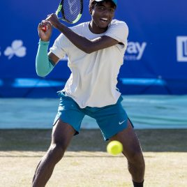 LIVERPOOL, ENGLAND - Friday, June 22, 2018: Elias Ymer (SWE) during day two of the Williams BMW Liverpool International Tennis Tournament 2018 at Aigburth Cricket Club. (Pic by Paul Greenwood/Propaganda)