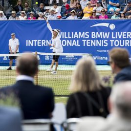 LIVERPOOL, ENGLAND - Saturday, June 23, 2018: Corporate guests watch Vera Zvonareva (RUS) during day three of the Williams BMW Liverpool International Tennis Tournament 2018 at Aigburth Cricket Club. (Pic by Paul Greenwood/Propaganda)