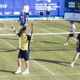 LIVERPOOL, ENGLAND - Saturday, June 23, 2018: Liverpool doubles duo brothers Neal and Ken Skupski during day three of the Williams BMW Liverpool International Tennis Tournament 2018 at Aigburth Cricket Club. (Pic by Paul Greenwood/Propaganda)