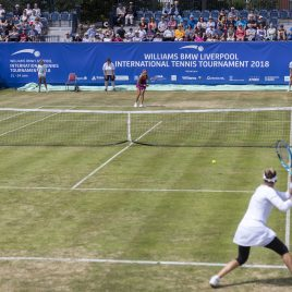 LIVERPOOL, ENGLAND - Saturday, June 23, 2018: A general view of the match between Vera Zvonareva (RUS) and Alexandra Cadantu (ROU) during day three of the Williams BMW Liverpool International Tennis Tournament 2018 at Aigburth Cricket Club. (Pic by Paul Greenwood/Propaganda)