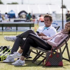 LIVERPOOL, ENGLAND - Saturday, June 23, 2018: Alessandro Giannessi (ITA) and Corinna Dentoni (ITA) relax in deckchairs during day three of the Williams BMW Liverpool International Tennis Tournament 2018 at Aigburth Cricket Club. (Pic by Paul Greenwood/Propaganda)