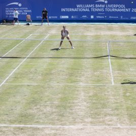 LIVERPOOL, ENGLAND - Sunday, June 24, 2018: A general view of Marion Bartolli (FRA) and Ellie Tsimbilakis (GBR) vs Corinna Dentoni (ITA) and Vera Zvonareva (RUS) during day four of the Williams BMW Liverpool International Tennis Tournament 2018 at Aigburth Cricket Club. (Pic by Paul Greenwood/Propaganda)