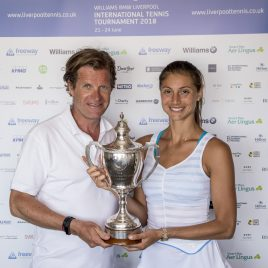 LIVERPOOL, ENGLAND - Sunday, June 24, 2018: Tournament director Anders Borg and Corinna Dentoni (ITA) during day four of the Williams BMW Liverpool International Tennis Tournament 2018 at Aigburth Cricket Club. (Pic by Paul Greenwood/Propaganda)
