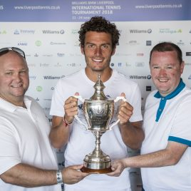 LIVERPOOL, ENGLAND - Sunday, June 24, 2018: Alessandro Giannessi (ITA) with Paul McCraken (l) and Neil McGonigle during day four of the Williams BMW Liverpool International Tennis Tournament 2018 at Aigburth Cricket Club. (Pic by Paul Greenwood/Propaganda)