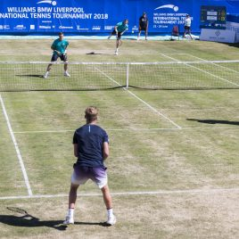 LIVERPOOL, ENGLAND - Sunday, June 24, 2018: Neal Skupski (GBR), Ken Skupski (GBR) face Robert Kendrick (USA) and Adam Jones (GBR) during day four of the Williams BMW Liverpool International Tennis Tournament 2018 at Aigburth Cricket Club. (Pic by Paul Greenwood/Propaganda)
