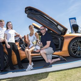 LIVERPOOL, ENGLAND - Sunday, June 24, 2018: Corinna Dentoni (ITA) with the BMW i8 Roadster and BMW team members l-r: Nick Bannon-Thomas, Lydia Connell and Chris Woods during day four of the Williams BMW Liverpool International Tennis Tournament 2018 at Aigburth Cricket Club. (Pic by Paul Greenwood/Propaganda)