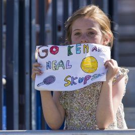 LIVERPOOL, ENGLAND - Sunday, June 24, 2018: A yourg fan in the crowd shows a homemade sign in supporting Neal Skupski (GBR) and Ken Skupski (GBR) during day four of the Williams BMW Liverpool International Tennis Tournament 2018 at Aigburth Cricket Club. (Pic by Paul Greenwood/Propaganda)