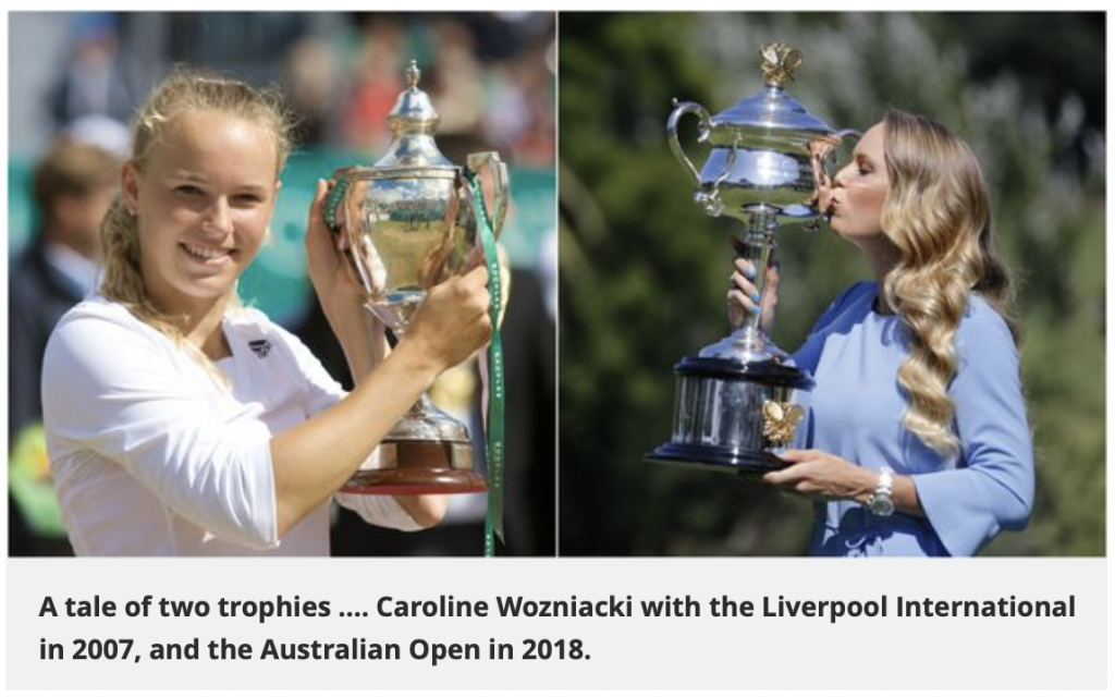 A tale of two trophies .... Caroline Wozniacki with the Liverpool International in 2007, and the Australian Open in 2018.